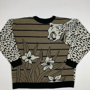 Vintage 80,90s Retro Graphic Sparkling Sweater
